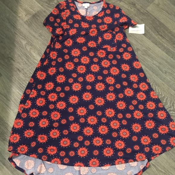 LuLaRoe Dresses & Skirts - Lularoe Carly x small Navy, Orange NWT